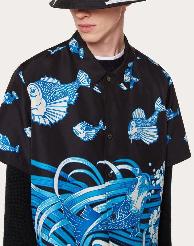 フィッシュレインプリント シルク ショートスリーブシャツ