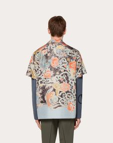 SHORT-SLEEVE SILK SHIRT WITH WATER GARDEN PRINT