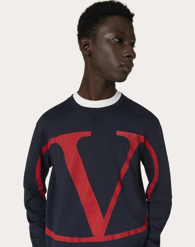 CREW-NECK SWEATSHIRT WITH VLOGO PRINT