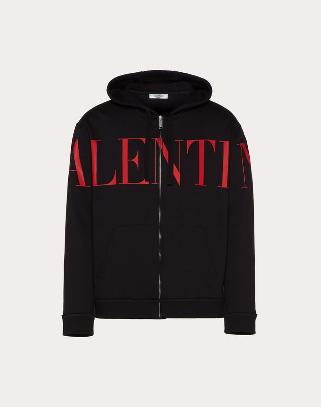 VALENTINO PRINT HOODED SWEATSHIRT WITH ZIPPER