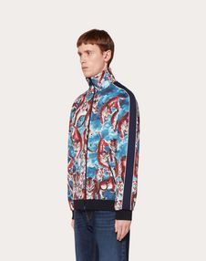 ZIPPED SWEATSHIRT WITH GO TIGER EMBROIDERY