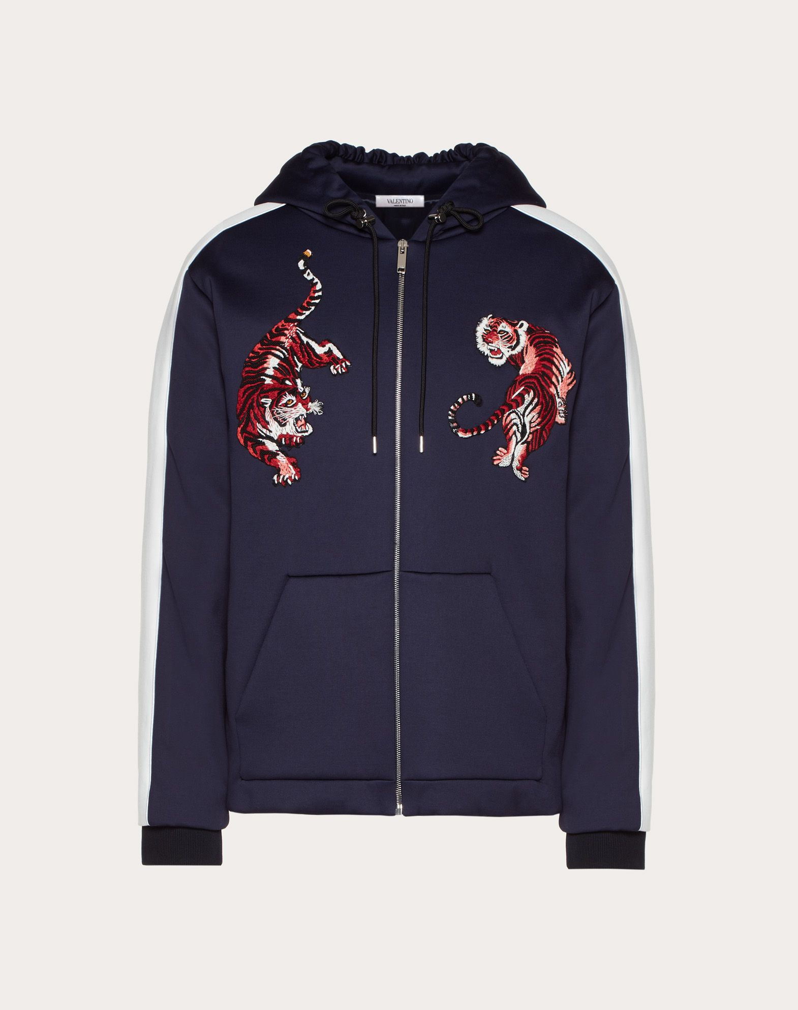 HOODED SWEATSHIRT WITH ZIPPER AND GO TIGER PATCH
