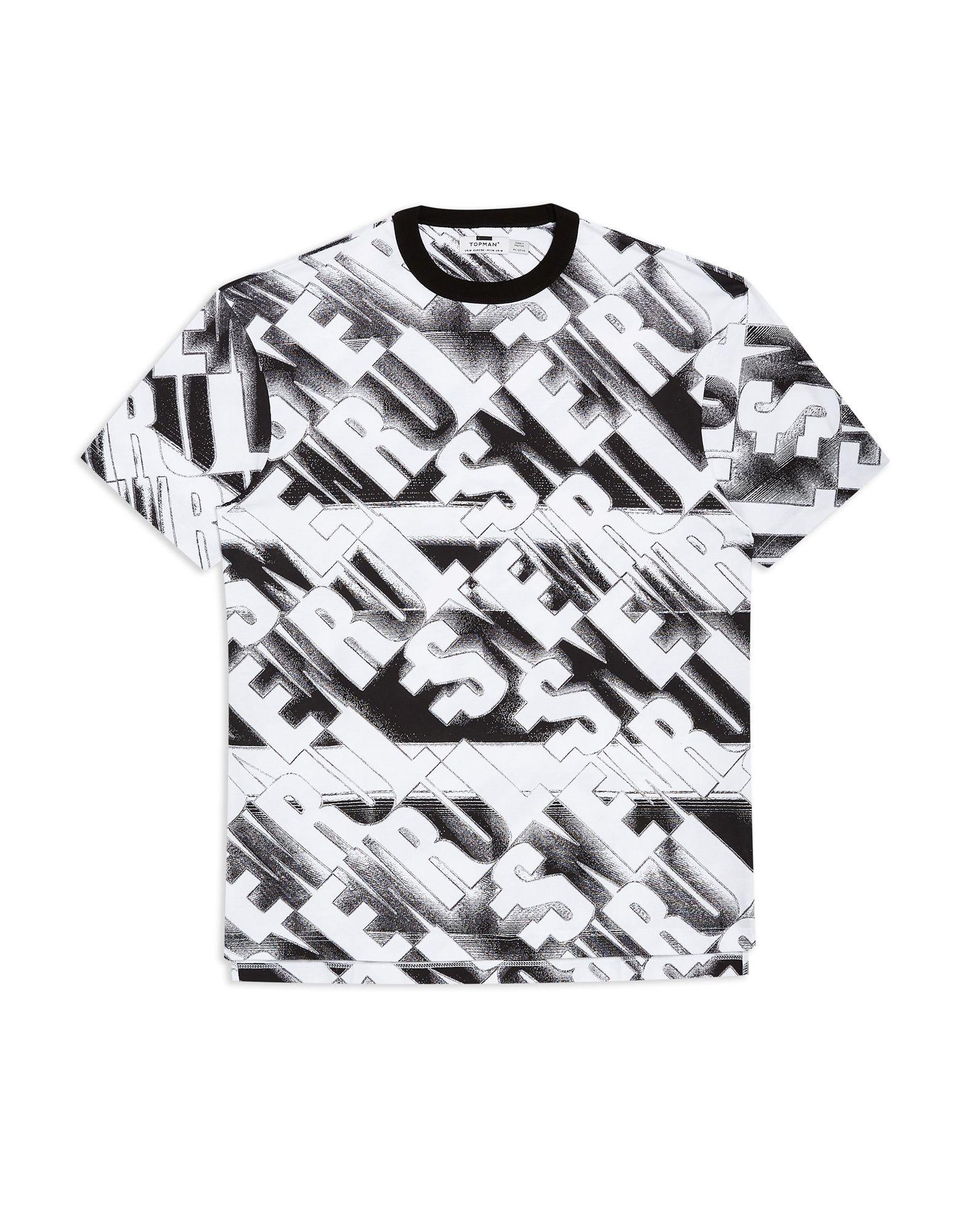 《期間限定セール開催中!》TOPMAN メンズ T シャツ ホワイト L コットン 100% Black Oversized T-Shirt