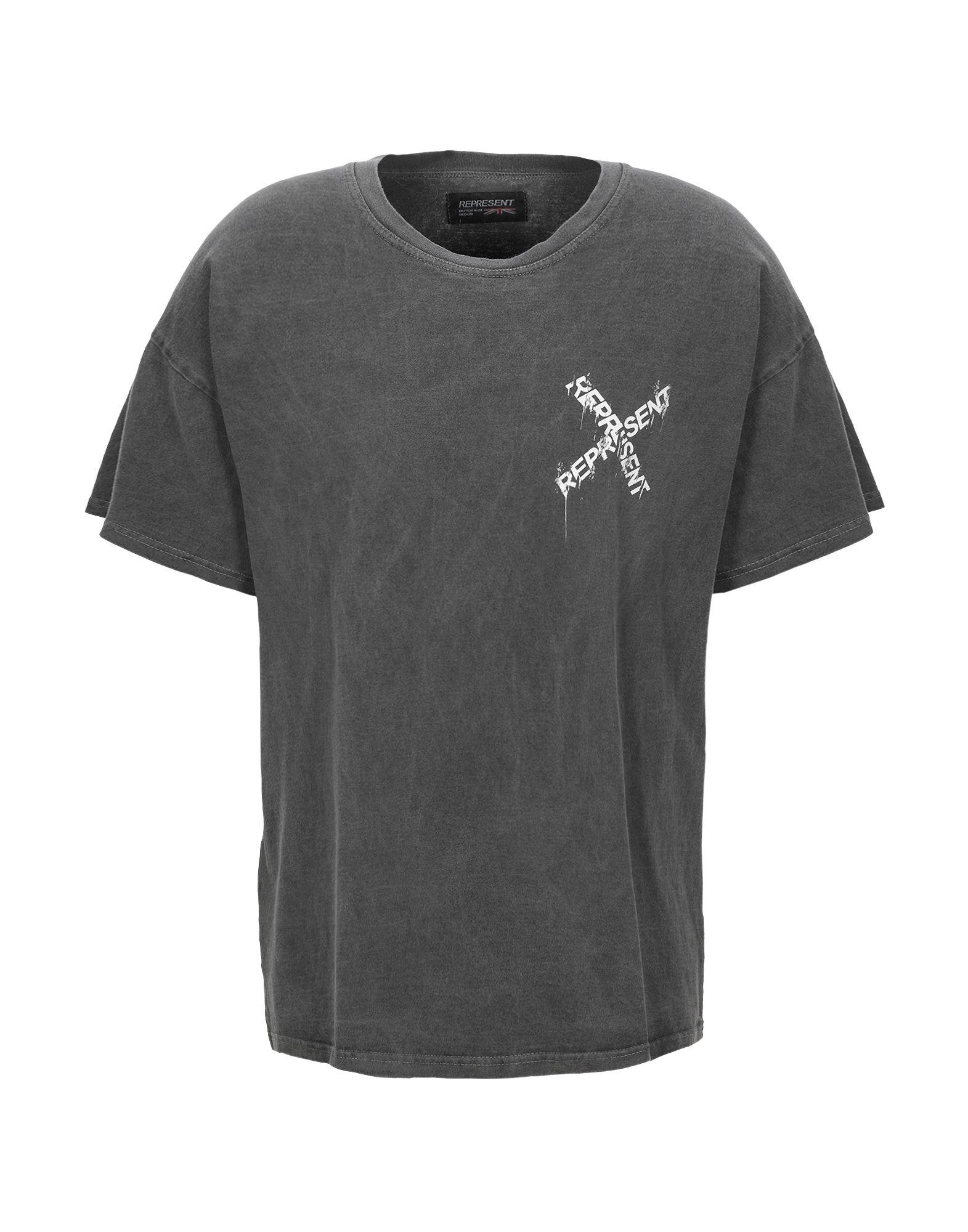 《期間限定セール開催中!》REPRESENT メンズ T シャツ 鉛色 L コットン 100% DESTROYED LOGO T-SHIRT
