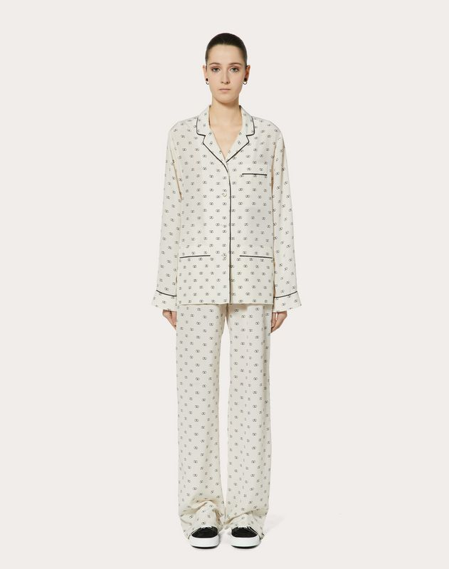 MINI VLOGO CREPE DE CHINE PAJAMA SHIRT