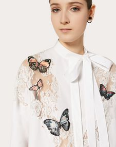POPLIN SHIRT WITH BUTTERFLY EMBROIDERY AND LACE DETAIL