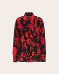 OVERDYED CREPE DE CHINE SHIRT WITH DOUBLE FLOWER PRINT