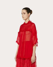 CHIFFON TOP WITH RUFFLES AND LACE
