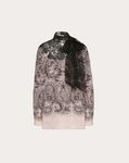 LACE PRINT CREPE DE CHINE AND LACE TOP