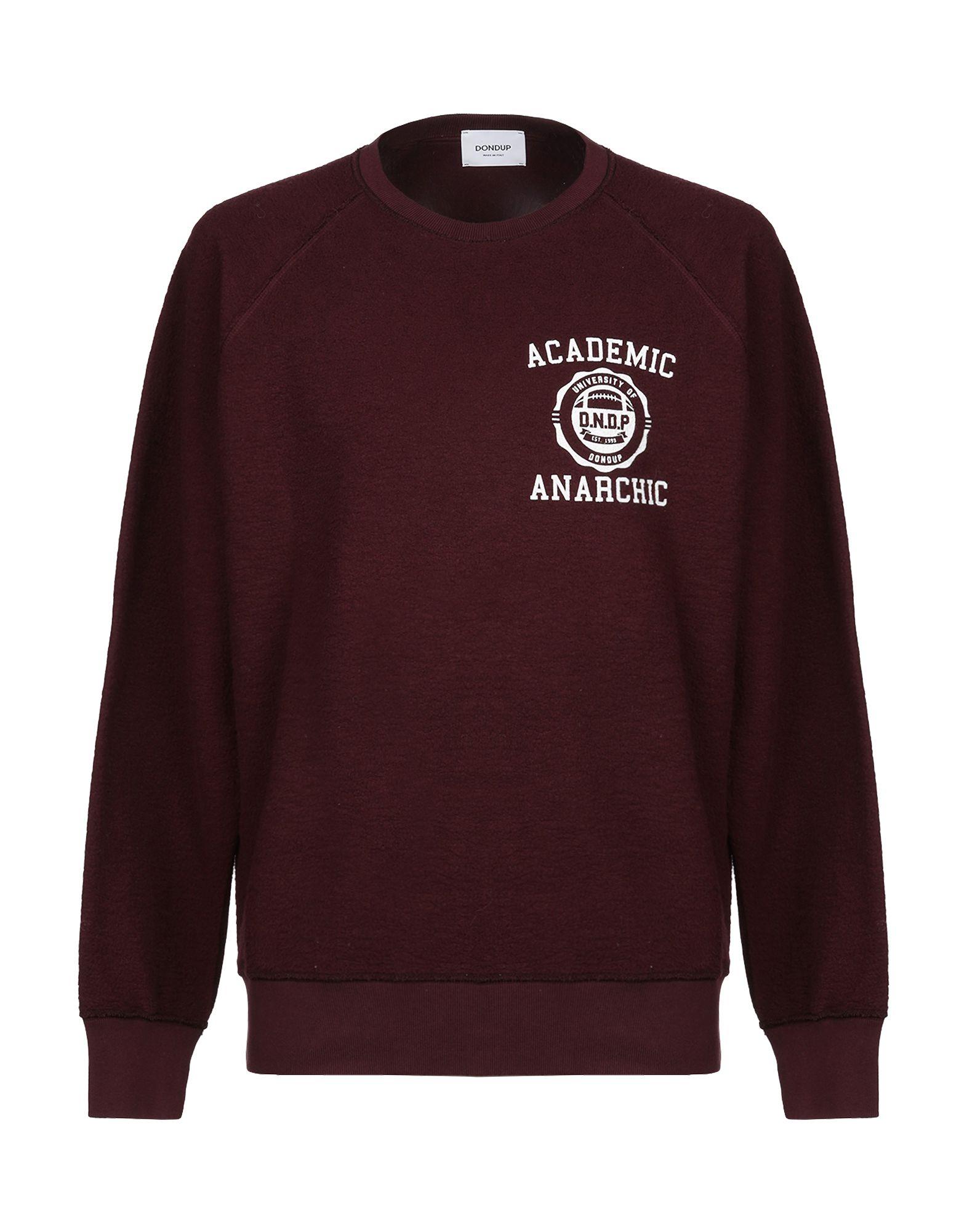 DONDUP Sweatshirts. logo, print, solid color, round collar, long sleeves, no pockets, fleece lining. 100% Cotton