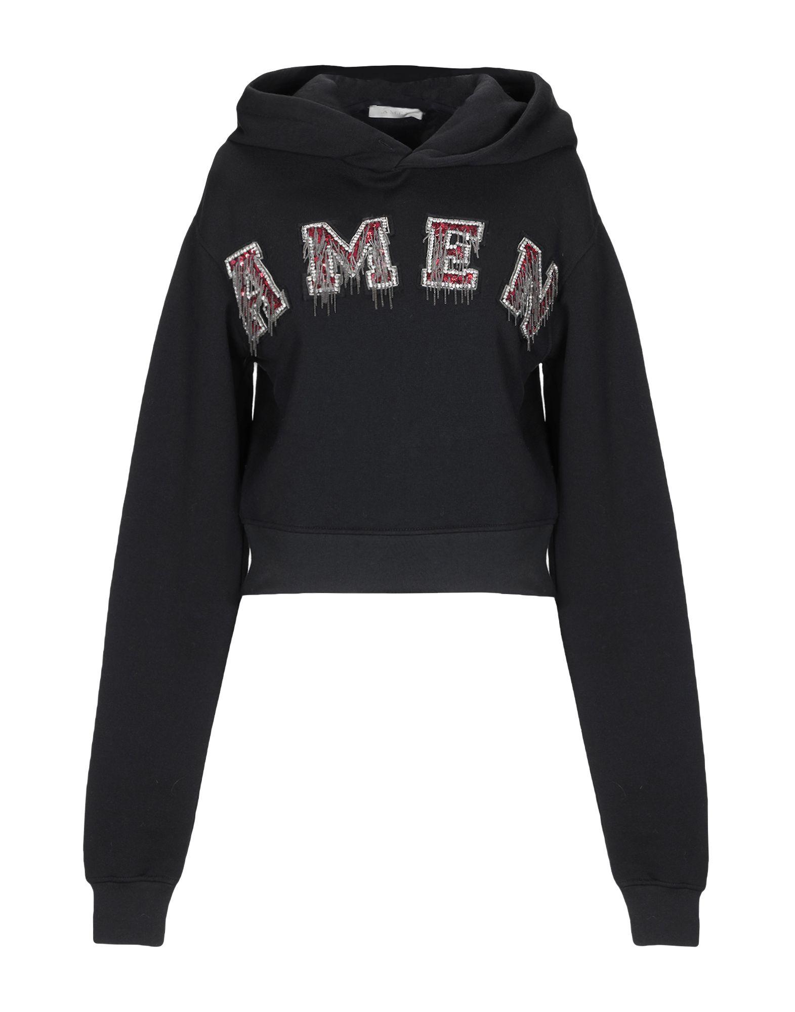 《セール開催中》.AMEN. レディース スウェットシャツ ブラック XS コットン 100%