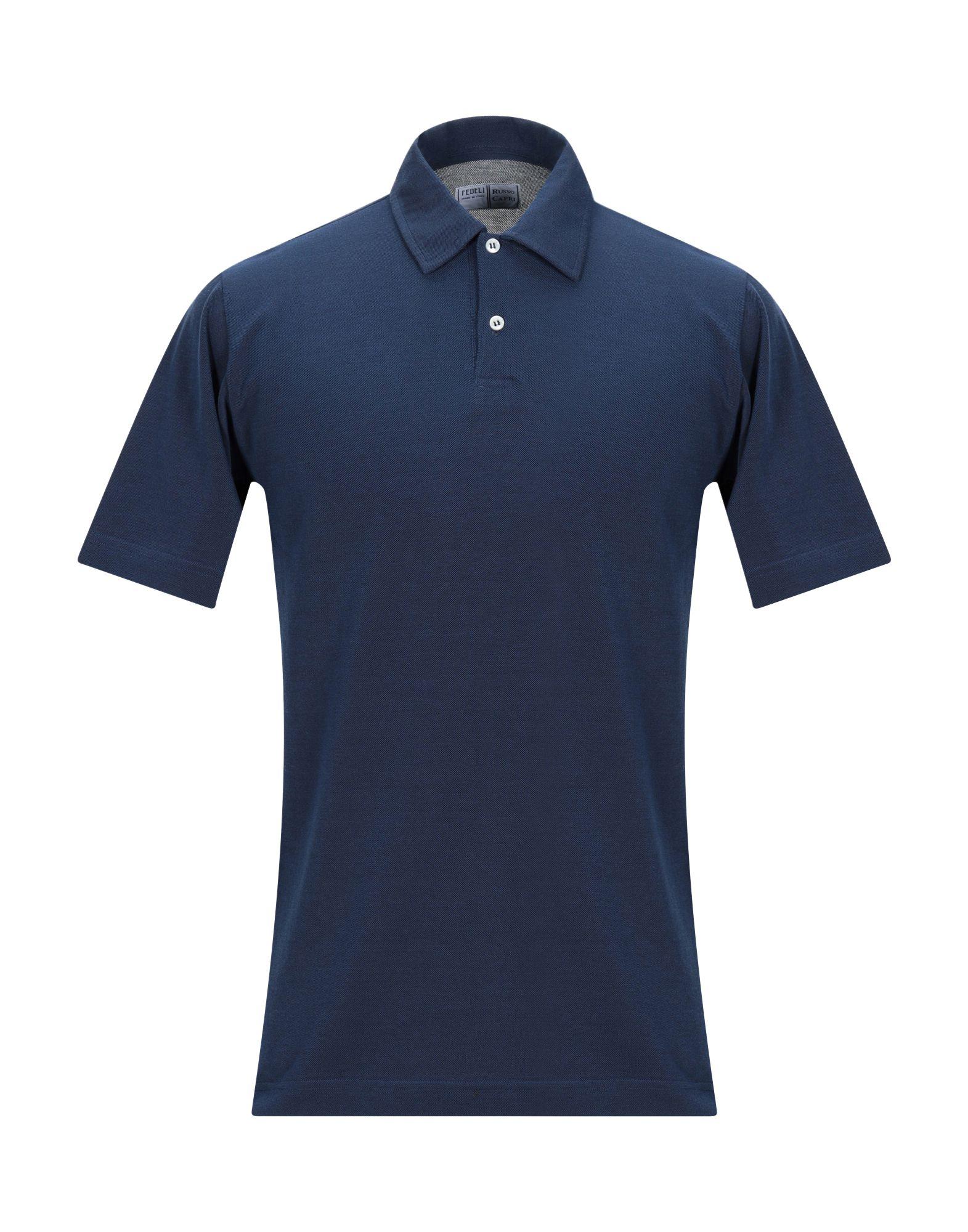 《期間限定セール中》FEDELI メンズ ポロシャツ ブルー 48 コットン 100%