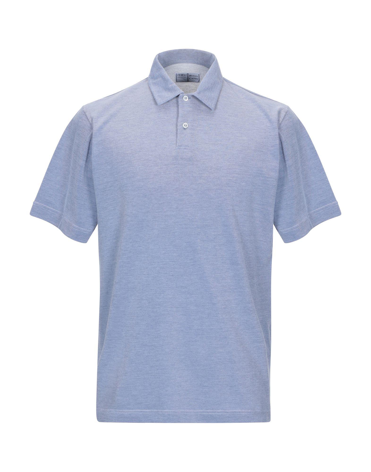 《期間限定セール中》FEDELI メンズ ポロシャツ パステルブルー 48 コットン 100%