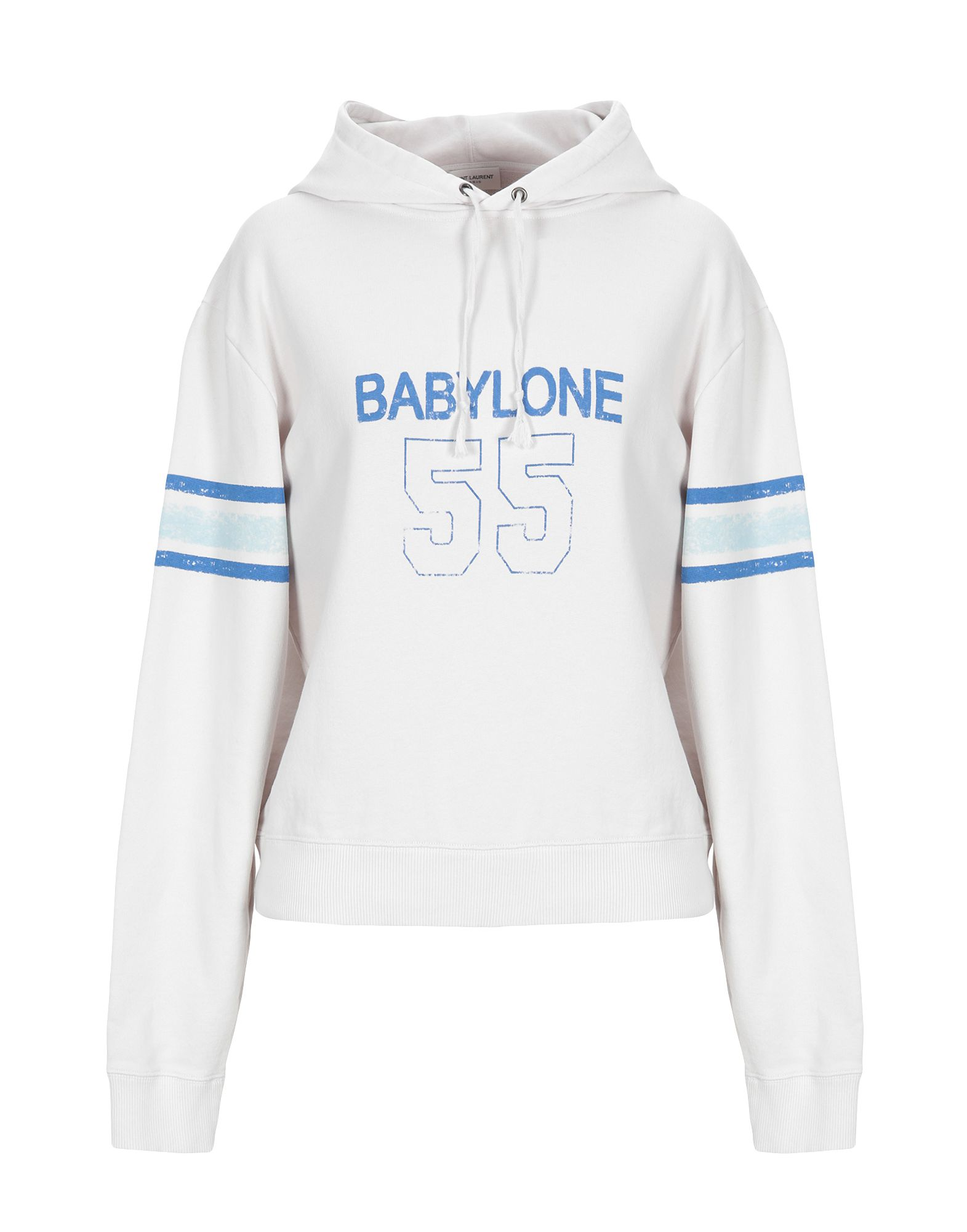 Saint Laurent Hooded Babylone 55 Sweatshirt In White