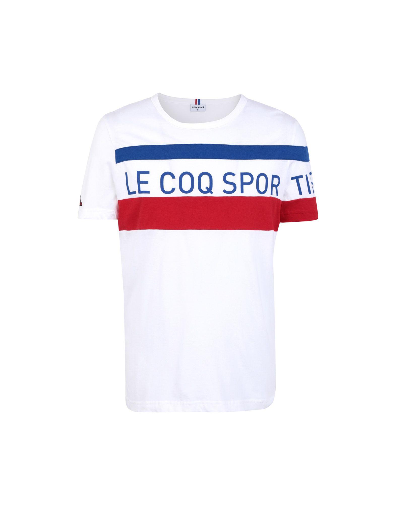 《セール開催中》LE COQ SPORTIF メンズ T シャツ ホワイト S コットン 100% TRI Tee SS N°5