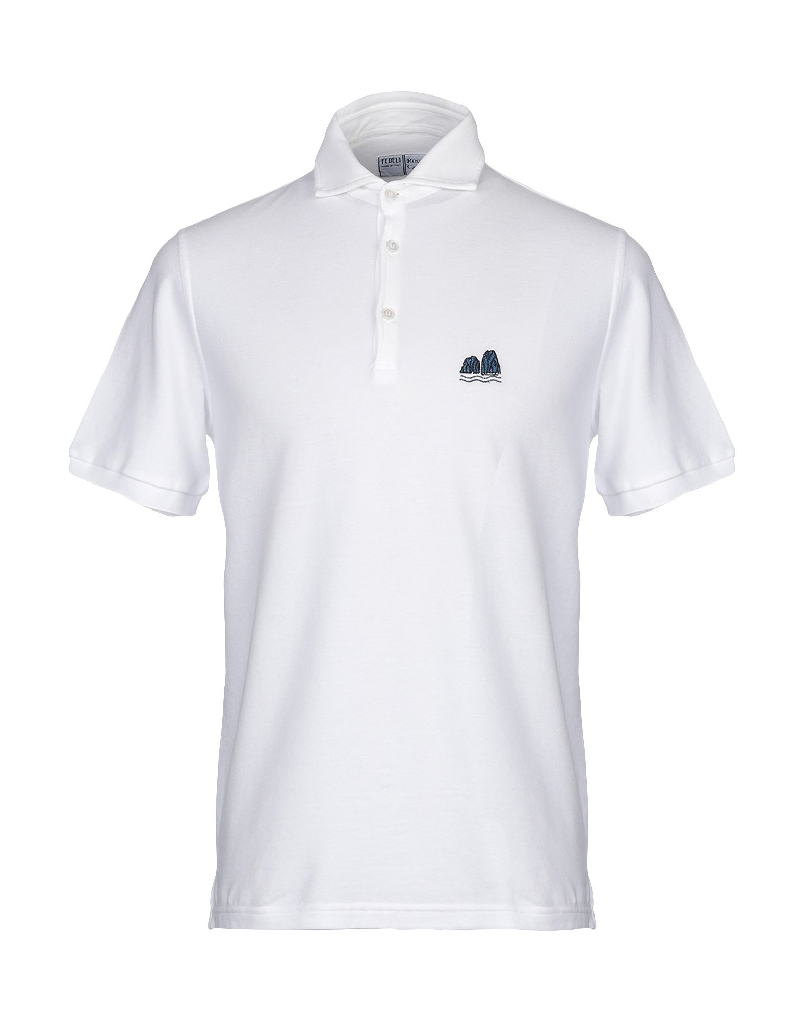 《期間限定セール中》FEDELI メンズ ポロシャツ ホワイト 48 コットン 100%