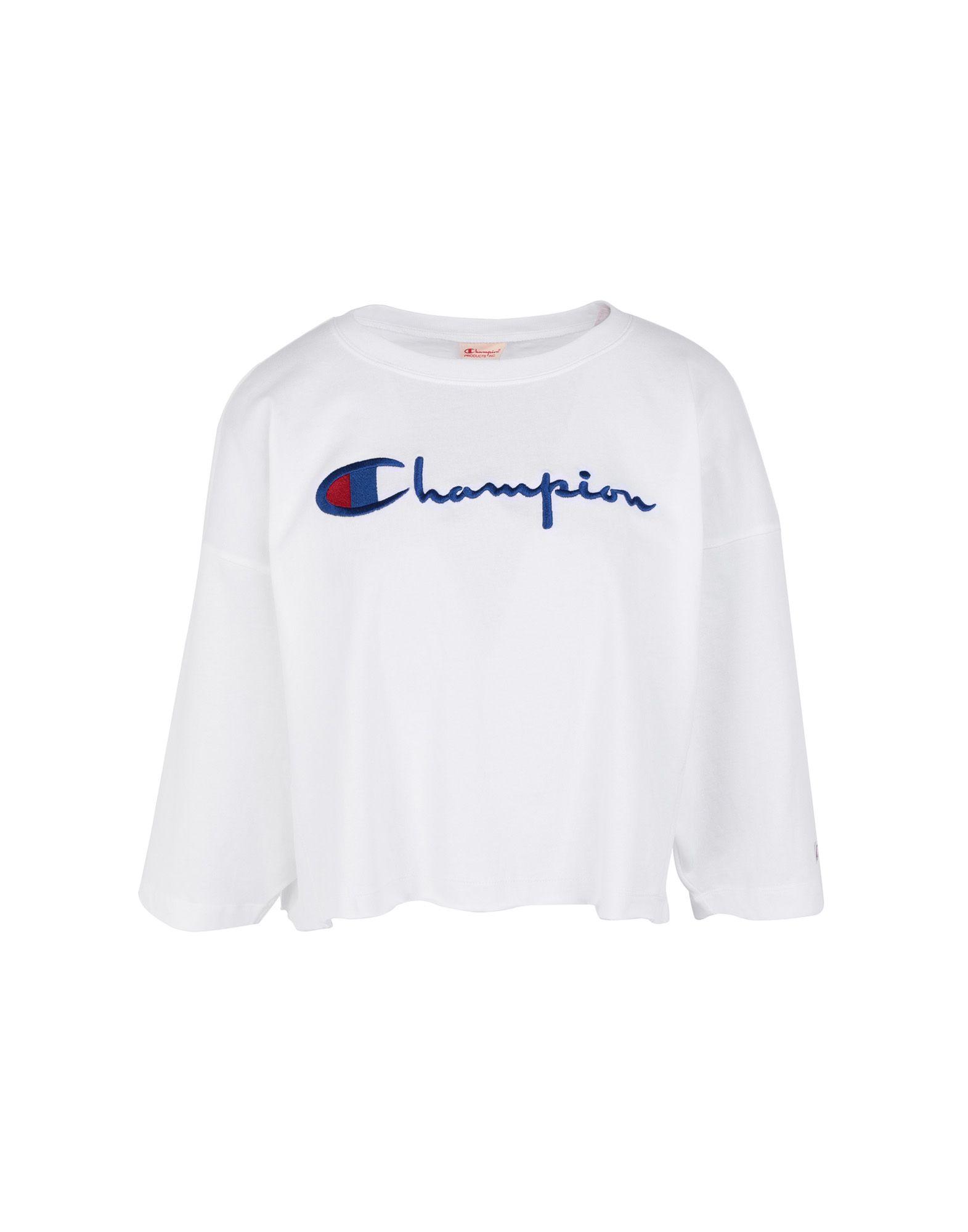 《セール開催中》CHAMPION REVERSE WEAVE レディース T シャツ ホワイト S コットン 100% Crewneck Croptop