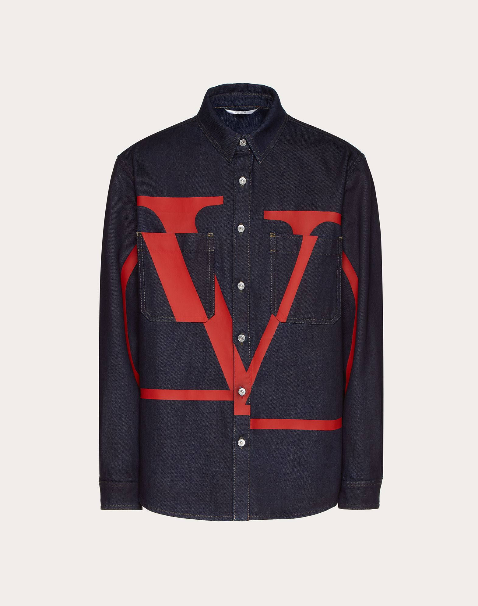 DENIM SHIRT WITH VLOGO PRINT