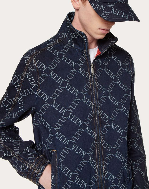 DENIM JACQUARD PEA COAT WITH VLTN GRID