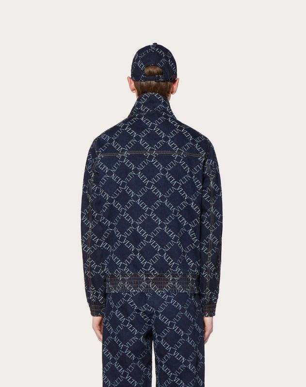 CABAN IN DENIM JACQUARD CON VLTN GRID