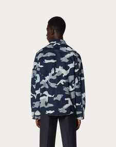 CAMOUFLAGE PEA COAT IN DENIM JACQUARD