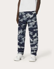 DENIM JACQUARD CARGO PANTS WITH EMBROIDERED V