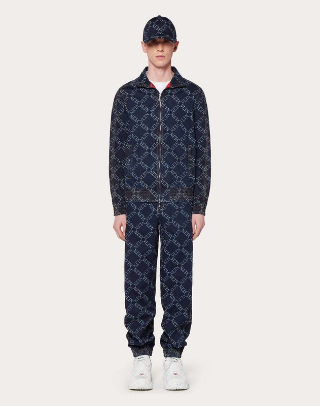 JOGGING PANTS IN DENIM JACQUARD WITH VLTN GRID