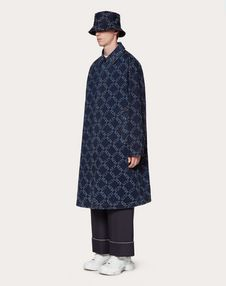 DENIM JACQUARD COAT WITH VLTN GRID PRINT