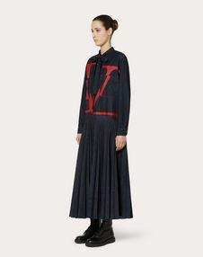 VLOGO PLEATED DENIM DRESS