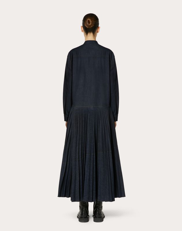 VLOGO PLEATED DENIM DRESS