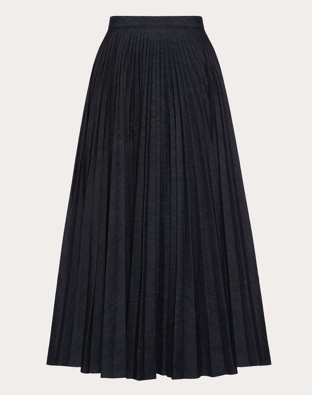 PLEATED DENIM SKIRT