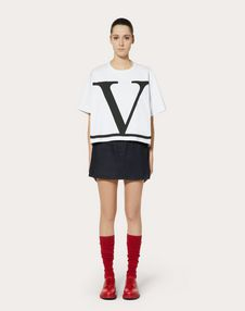 VLOGO DENIM MINI SKIRT