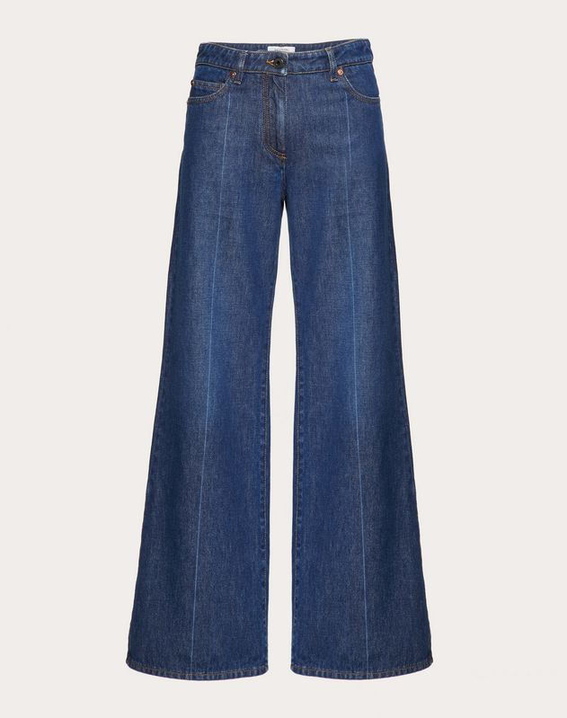 VLOGO EMBROIDERED DENIM TROUSERS