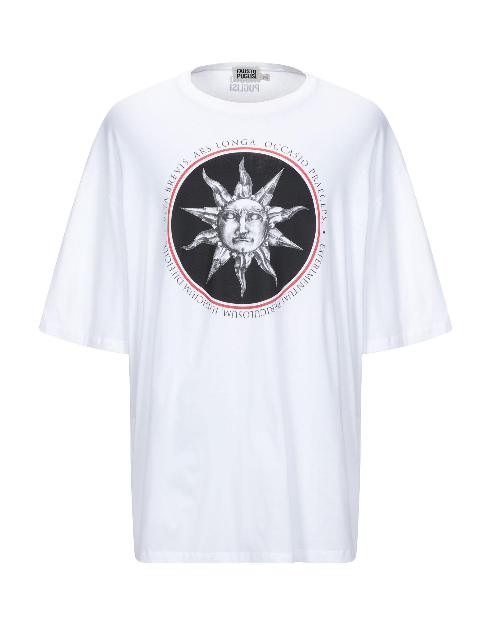 《セール開催中》FAUSTO PUGLISI メンズ T シャツ ホワイト L コットン 100%