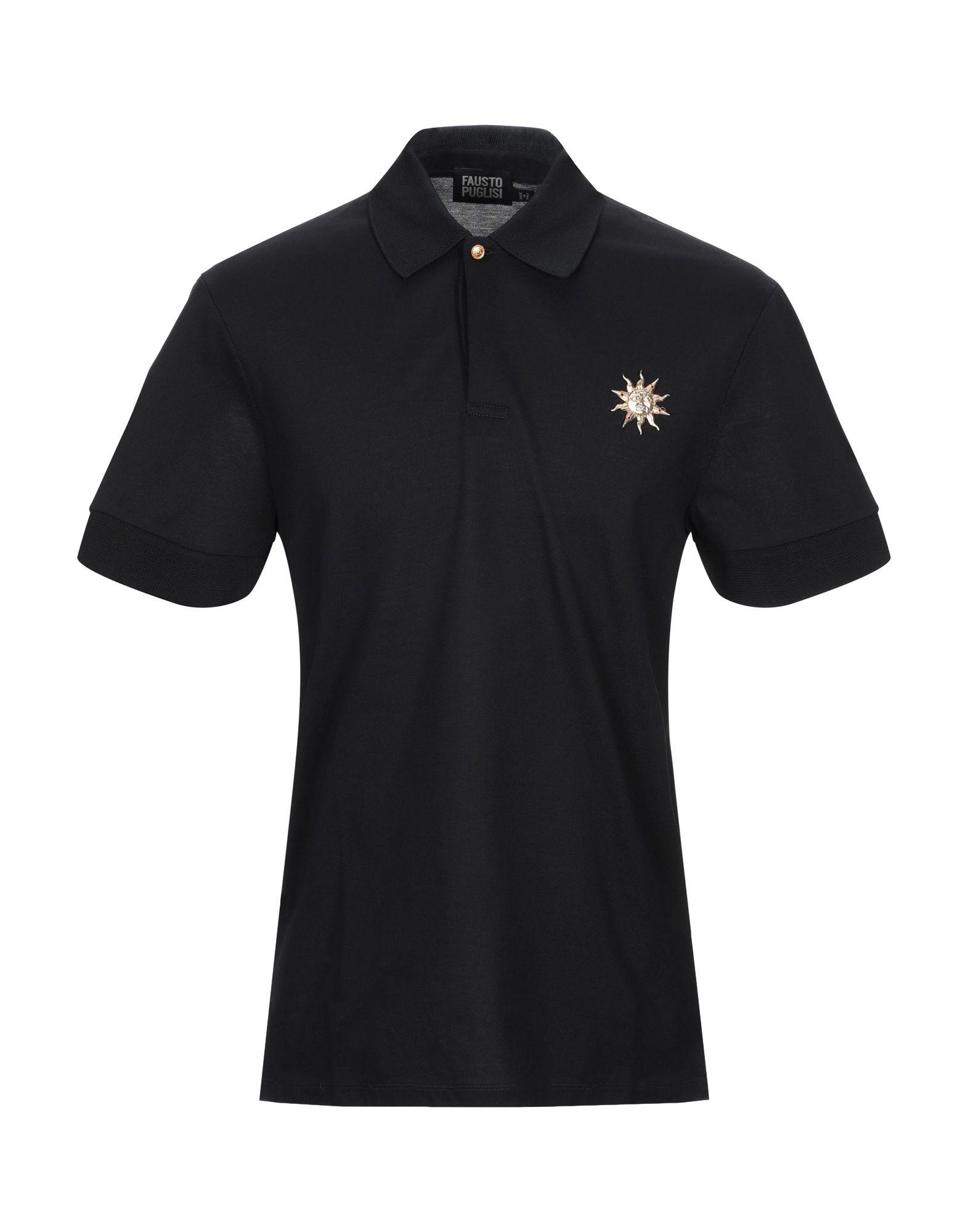 《セール開催中》FAUSTO PUGLISI メンズ ポロシャツ ブラック S コットン 100%