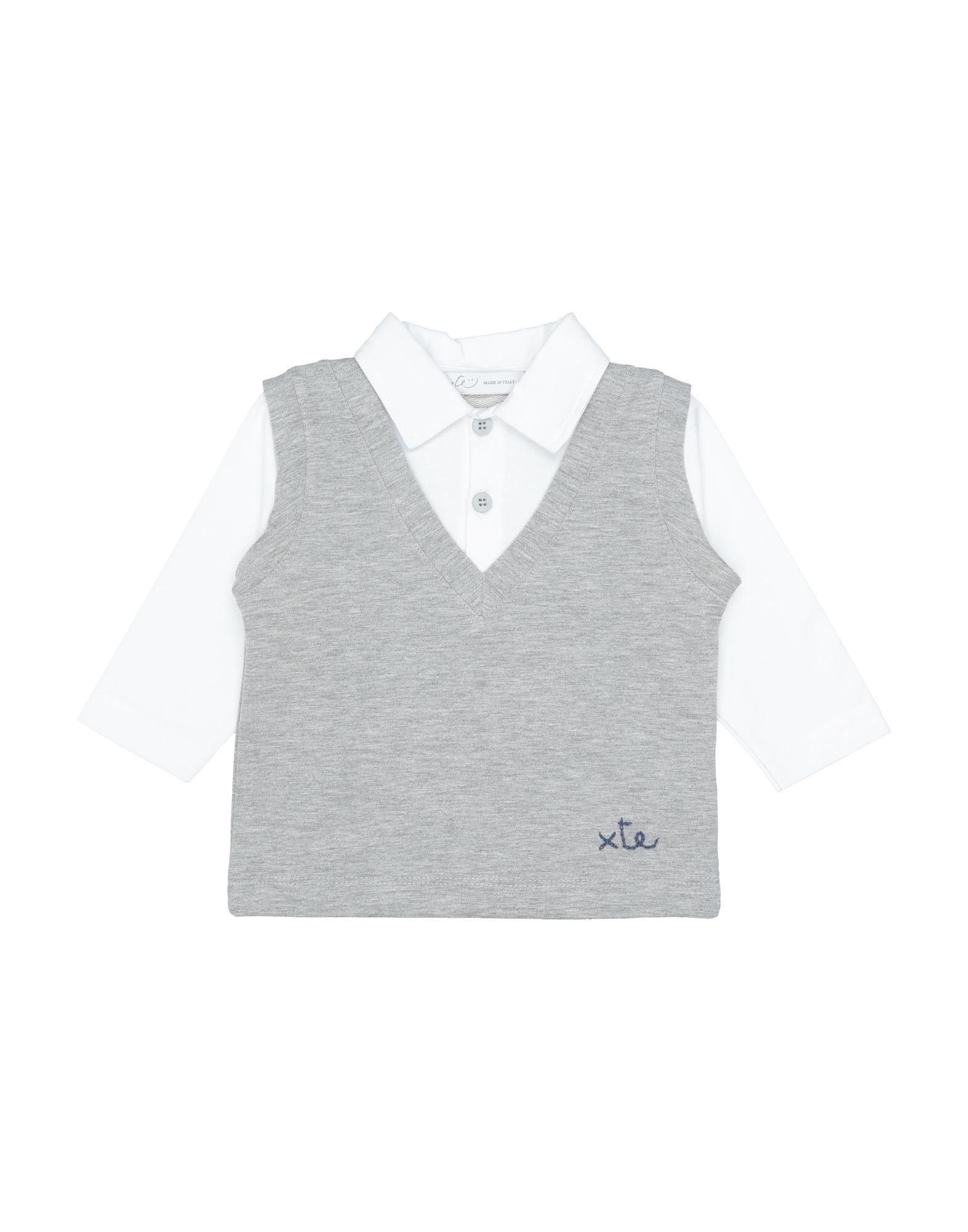 "Per Te"" Kids' Polo Shirts In Light Grey"