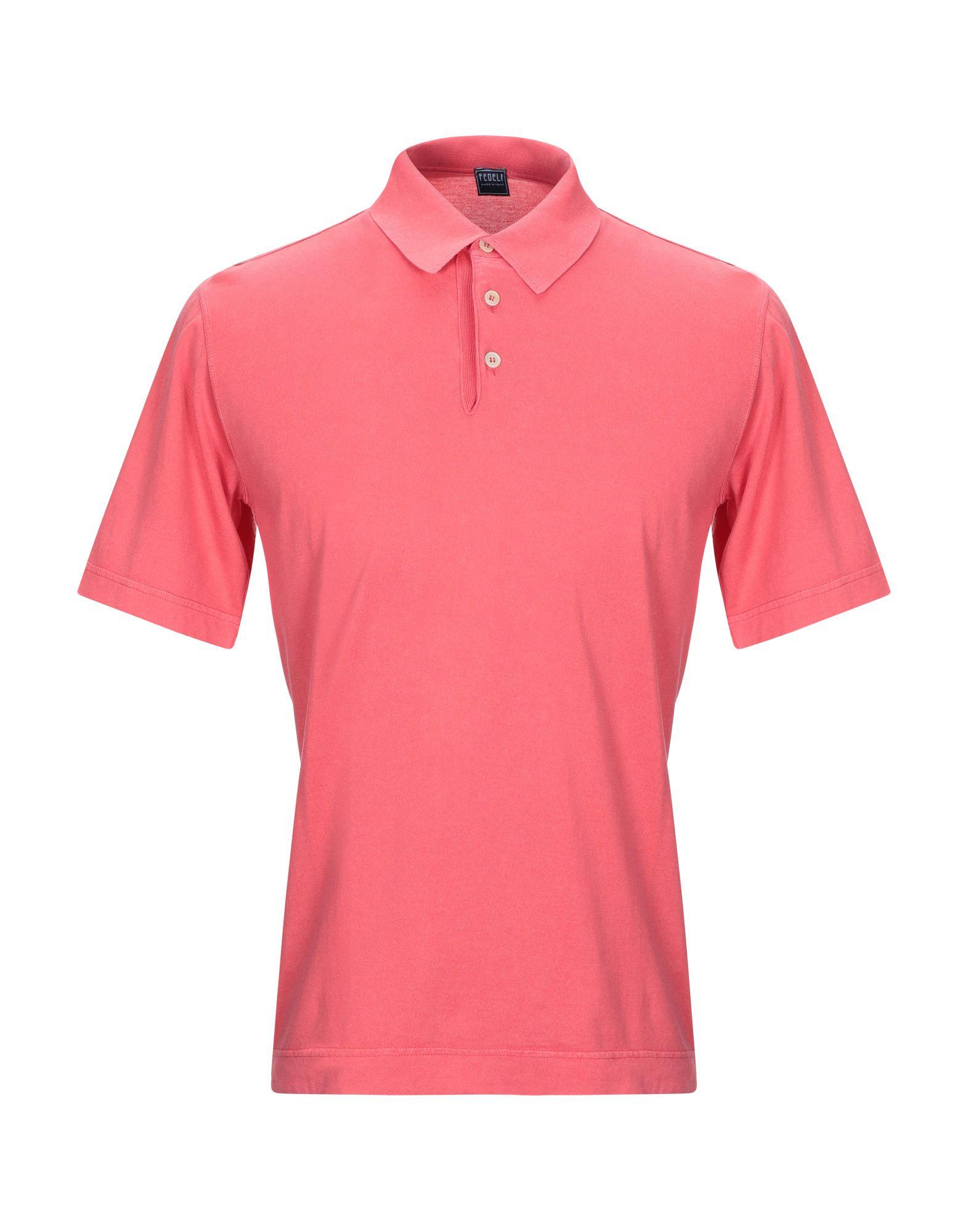 《期間限定セール中》FEDELI メンズ ポロシャツ コーラル 48 コットン 100%