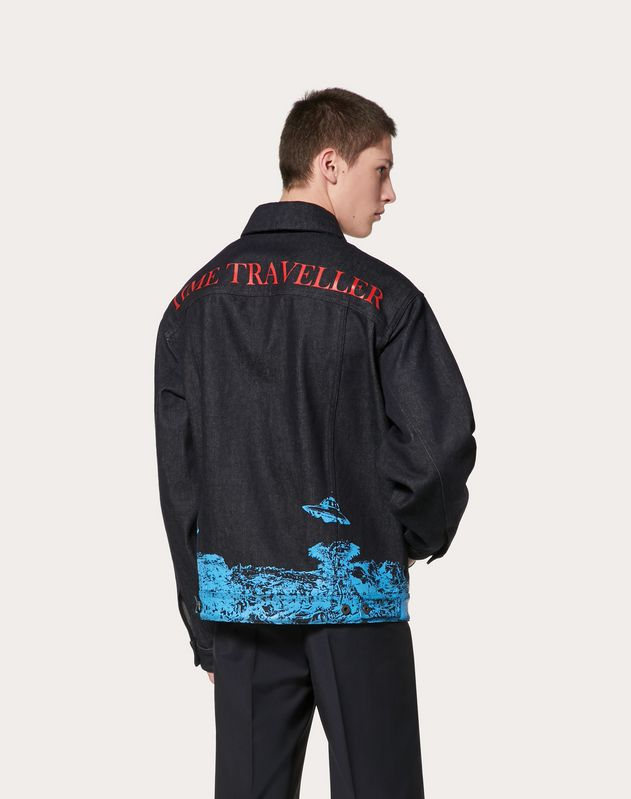 DENIM JACKET WITH TIME TRAVELLER PRINT