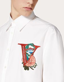 SHIRT WITH V FACE ROSE EMBROIDERY