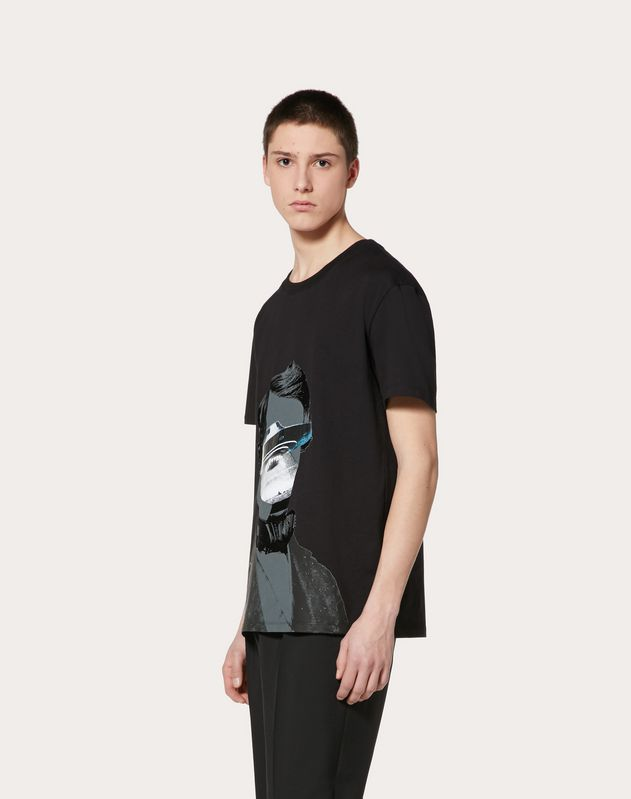 T-SHIRT WITH V FACE UFO PRINT