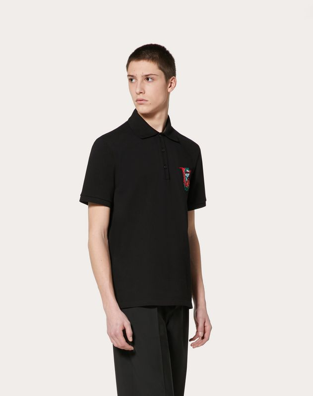 POLO SHIRT WITH V FACE ROSE EMBROIDERY