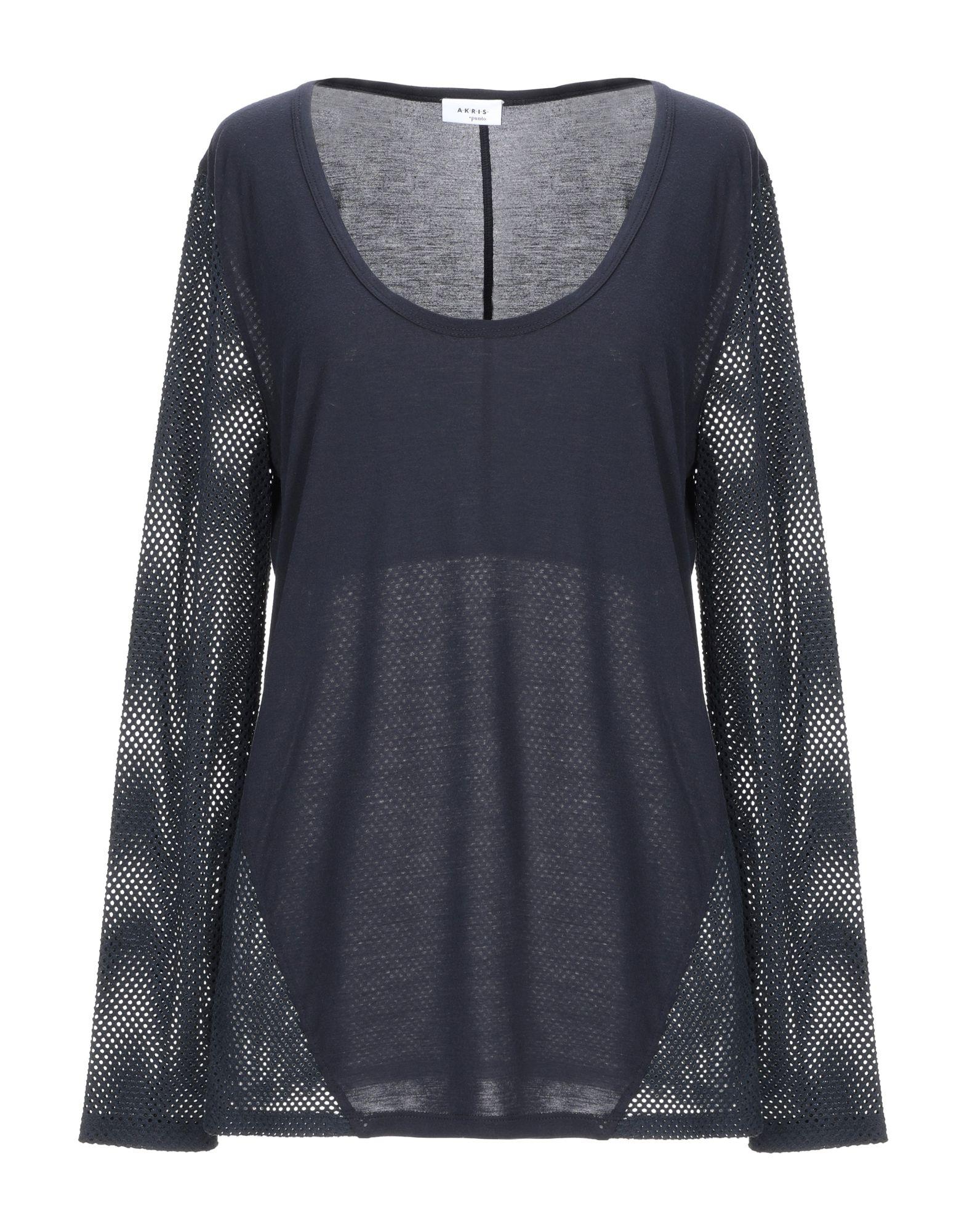AKRIS PUNTO T-shirts. jersey, no appliqués, basic solid color, round collar, long sleeves, no pockets, small sized. 85% Viscose, 15% Silk, Flax, Elastane