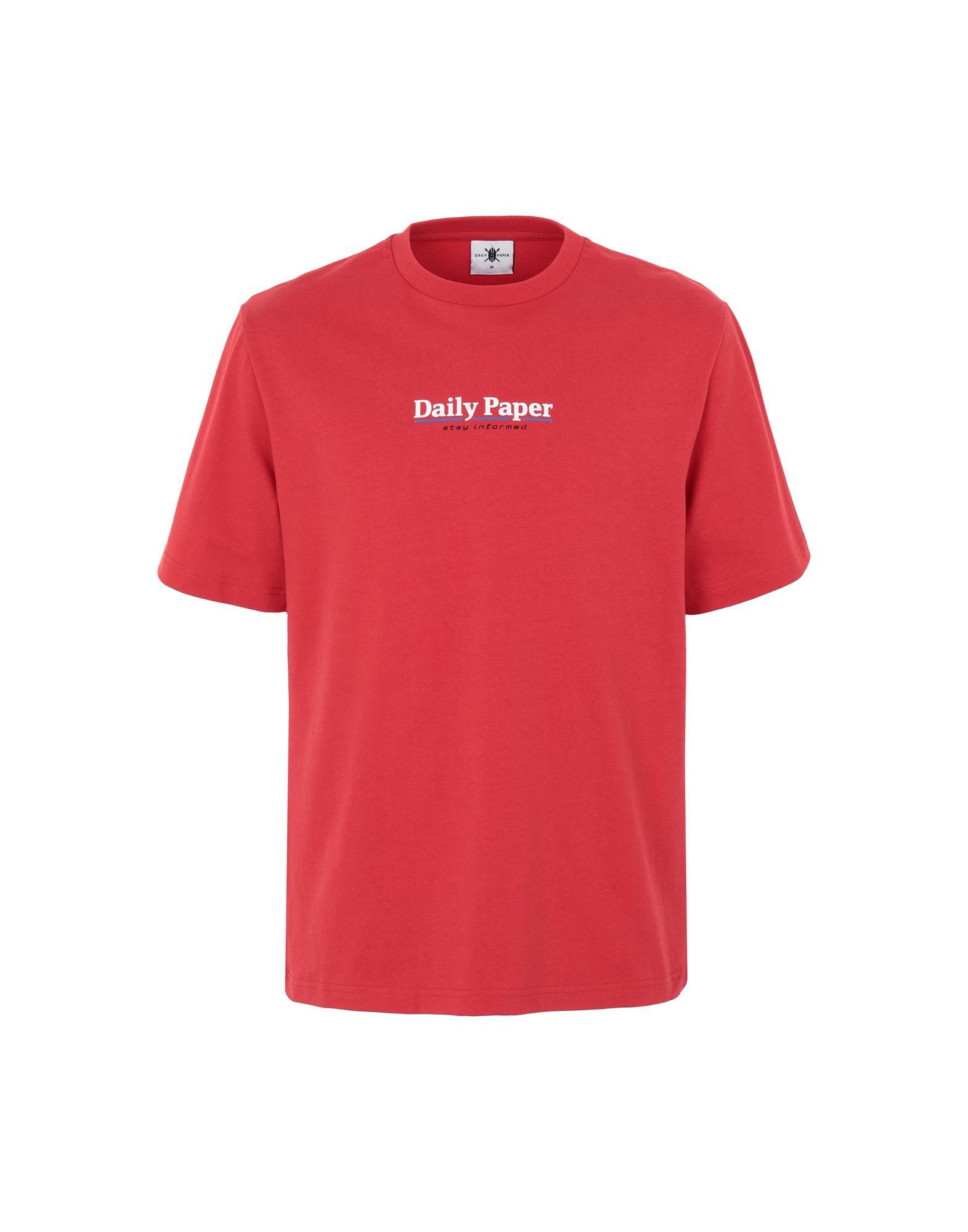 《期間限定セール中》DAILY PAPER メンズ T シャツ レッド S コットン 100% ESSENTIAL T-SHIRT