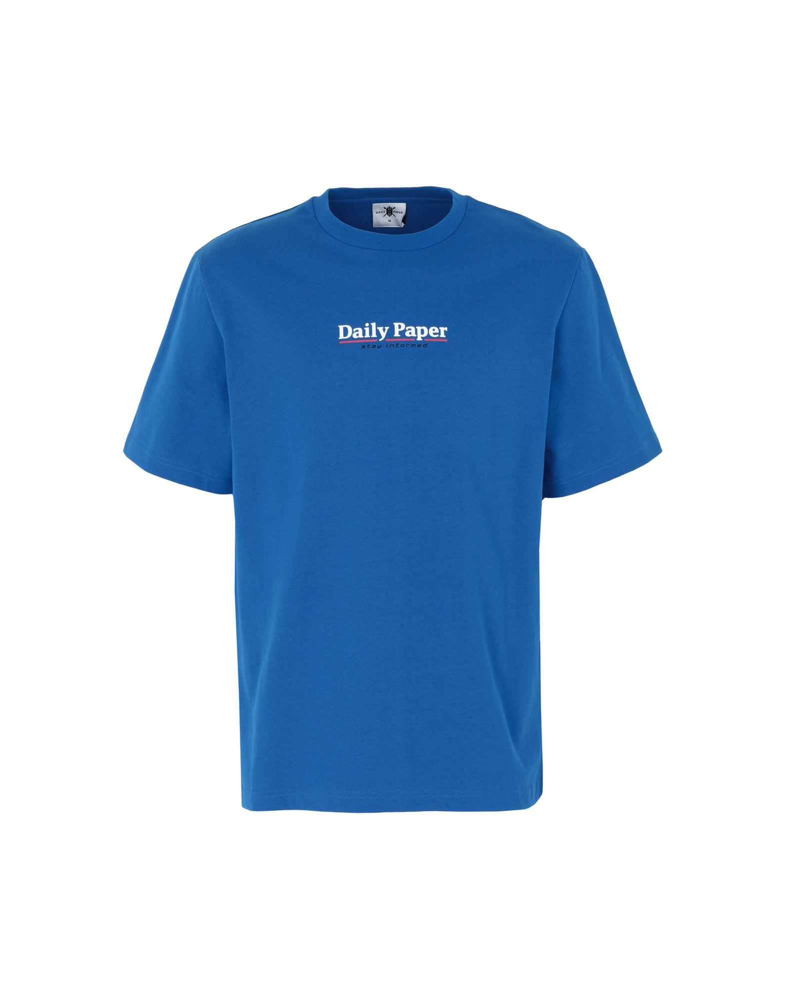 《期間限定セール中》DAILY PAPER メンズ T シャツ ブライトブルー S コットン 100% ESSENTIAL T-SHIRT
