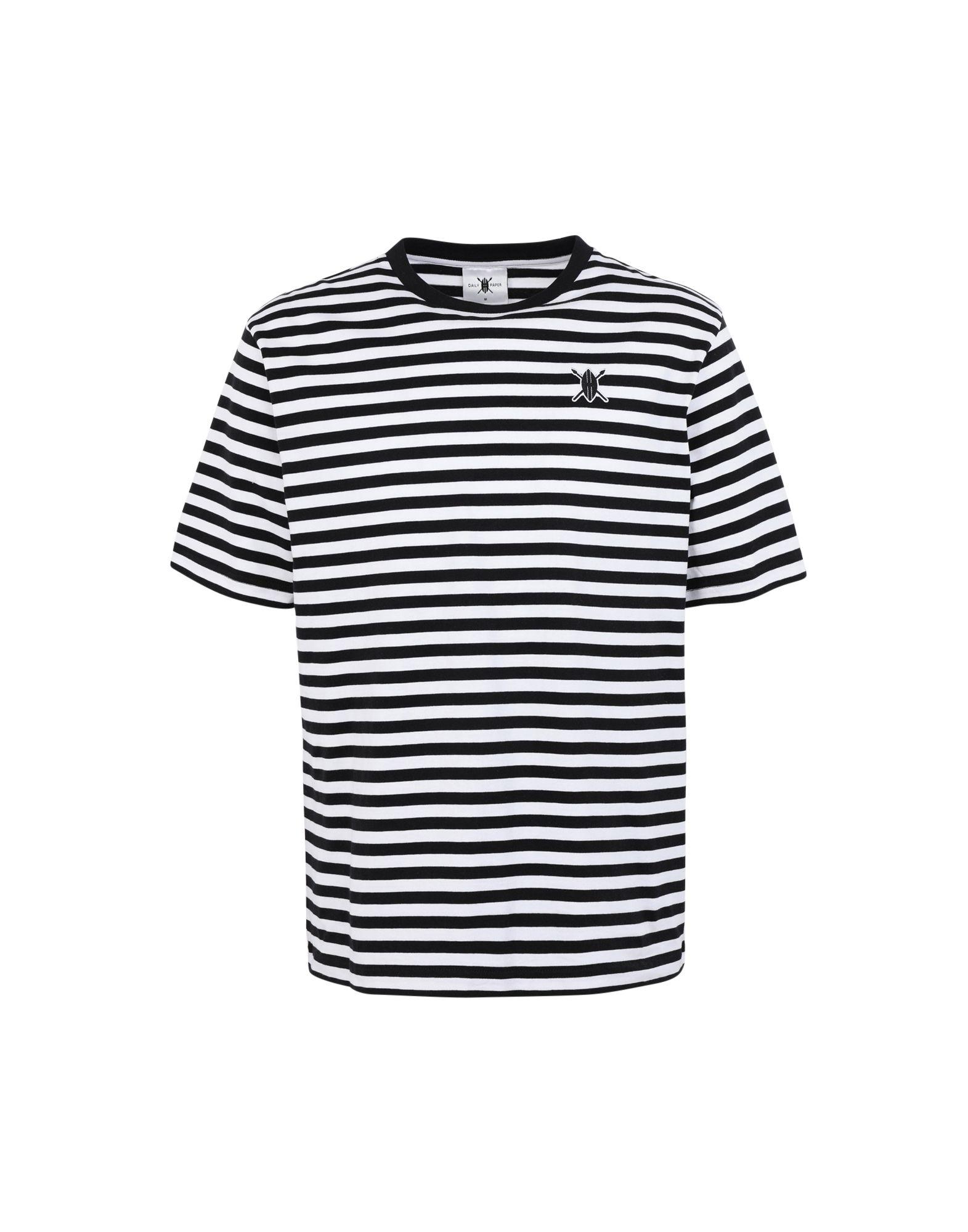 《期間限定セール中》DAILY PAPER メンズ T シャツ ブラック S コットン 100% ESSENTIAL STRIPED T-SHIRT
