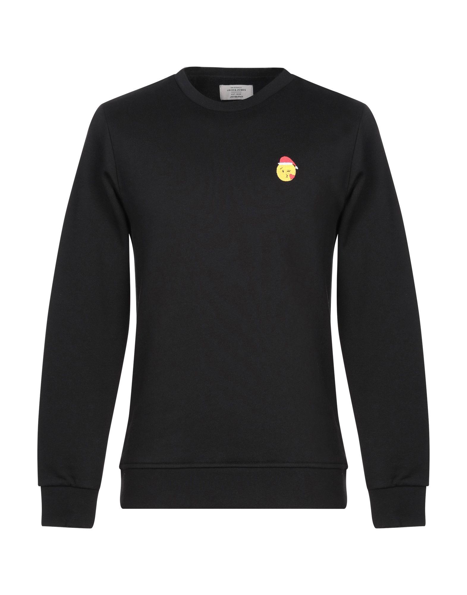 《期間限定セール開催中!》JACK & JONES ORIGINALS メンズ スウェットシャツ ブラック S コットン 100%