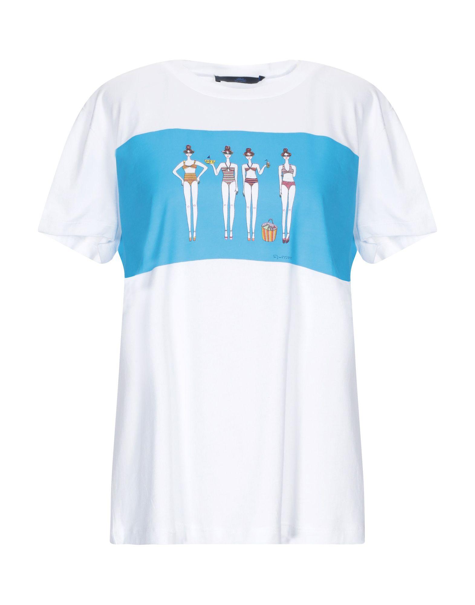 BLUE LES COPAINS Футболка les copains футболка с ажурными рукавами