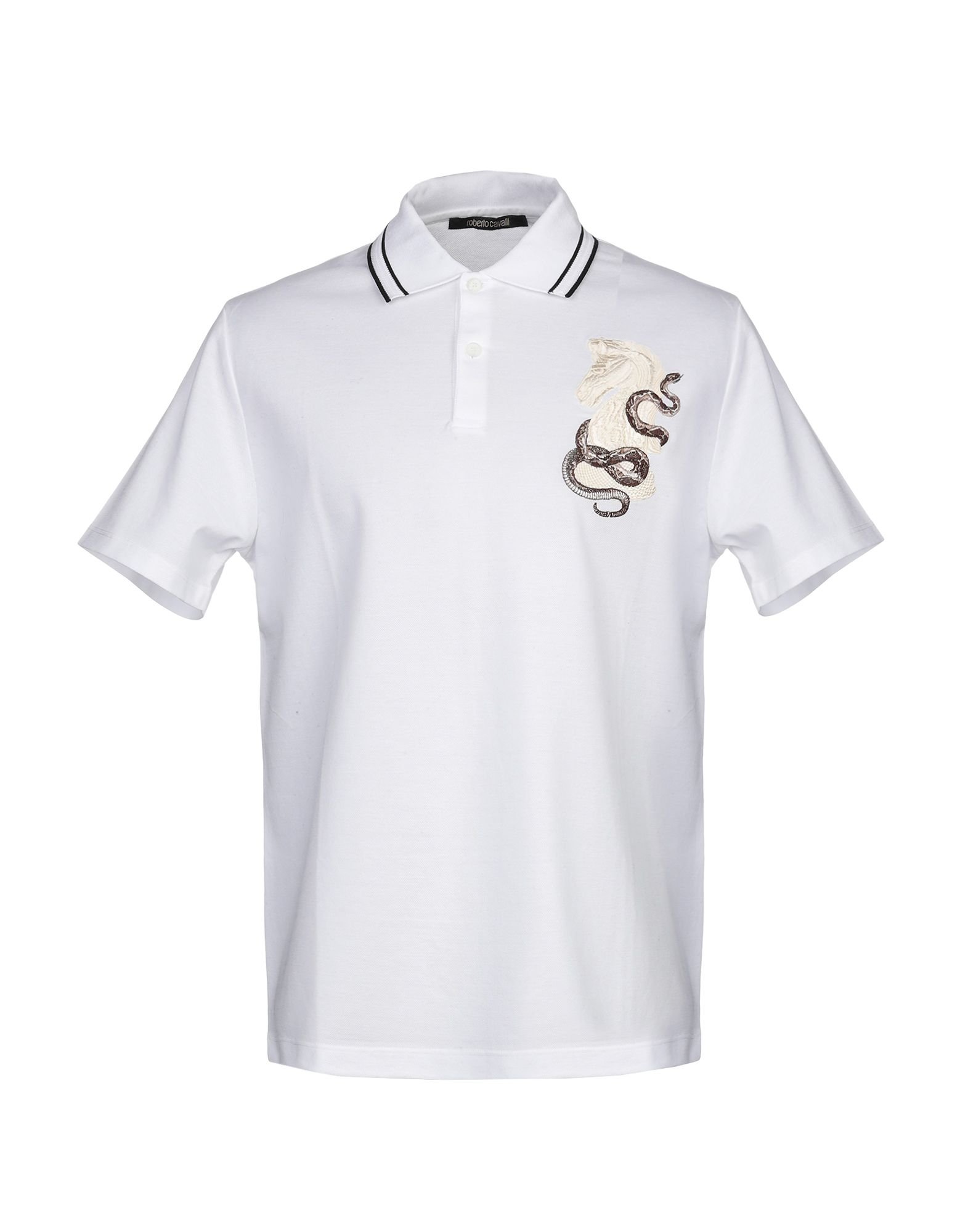 《セール開催中》ROBERTO CAVALLI メンズ ポロシャツ ホワイト S コットン 100%