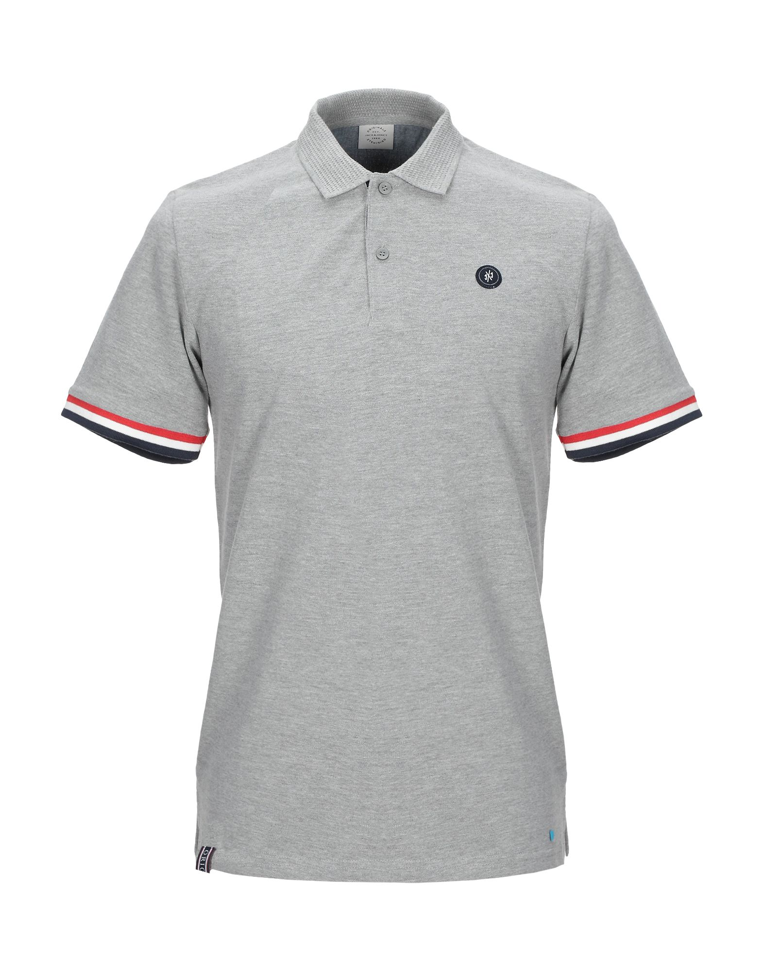 《送料無料》JACK & JONES ORIGINALS メンズ ポロシャツ グレー S コットン 100%