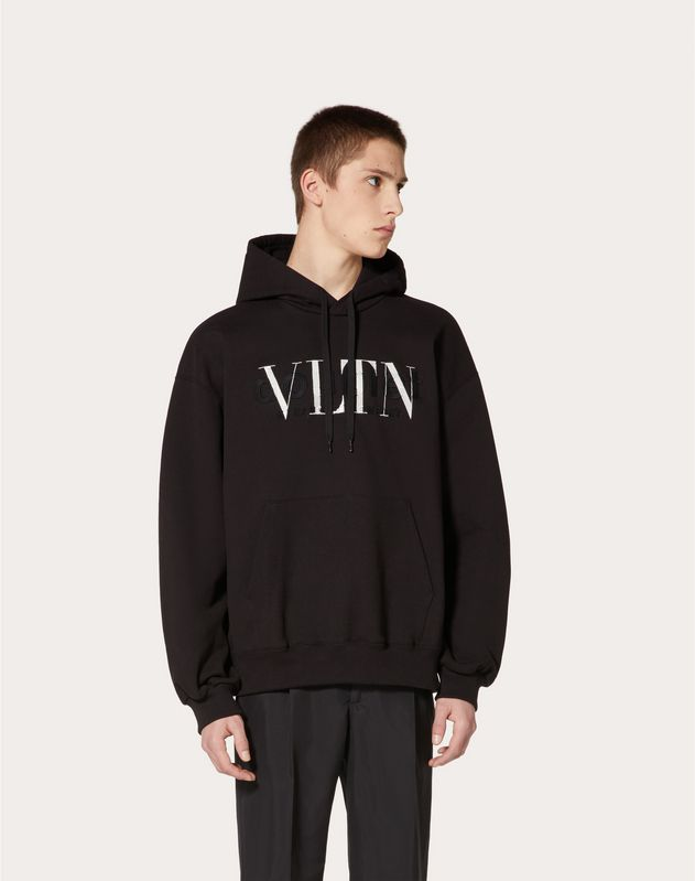 Sweatshirt with VLTN/DOUBLET embroidered hood in collaboration with Doublet